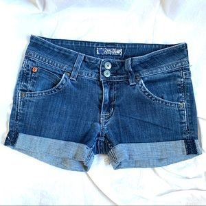 Hudson denim jean shorts rolled cuff hem Size 27